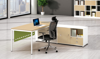 Office L Shaped Senior Executive Table with Side Cabinet (HC-97)